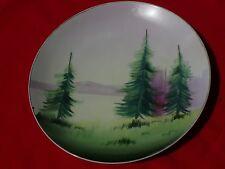 "Vintage Nippon Japan HAND PAINTED ART PLATE of Trees Lake Mountains 8"" Diameter"