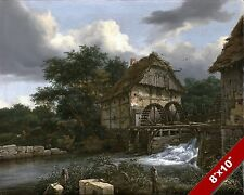 WATER MILL & SLUICE SCENIC DUTCH LANDSCAPE ART PAINTING REAL CANVAS PRINT