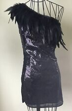 Gorgeous Sequinned Feathered Party Dress Black Small Fit UK8
