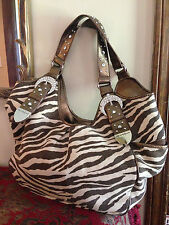 Hot In Hollywood Bronze Zebra Print Hand Bag