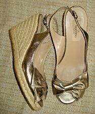 VALENTINO GARAVANI Gold Espadrille Wedge Sandals With Bow Size 38