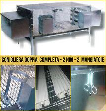 GABBIA PER CONIGLI COMPLETA CONIGLIERA DOPPIA CON DUE NIDI MANGIATOIE 150X50XH60