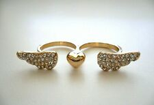 WINGS & HEART 2 Finger Connector Ring in Goldtone w/Rhinestone Size 6-7/7-8 BN