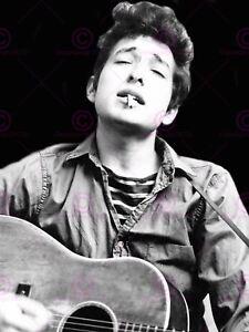 Vintage Music Photography Guitarist Bob Dylan Folk Hero Canvas Art Print