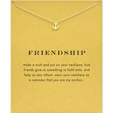Vintage Gold Style Anchor Friendship Wish Necklace