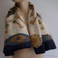 Carré soie foulard style Hermès clef or classique vintage mode luxe design N5957