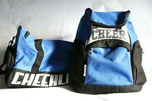 Chasse Cheer Cheerleader Bag w/Backpack/Book Bag, Blue & Black