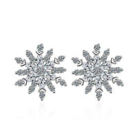 Women Elegant Solid 925 Sterling Silver AAA Zircon Snowflake Ear Stud Earrings
