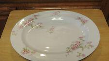 """D C Limoges France 14"""" Platter Oval Platter Chop Plate L Bernardaud Pink Roses"""
