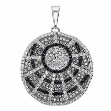 Elegant Puffed Spider's Web Pendant Necklace .925 Sterling Silver Hand Set