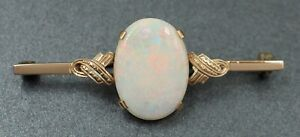 Handmade Vintage Opal Womens Brooch 9ct Yellow Gold Fine Jewelry - Val: $1,845