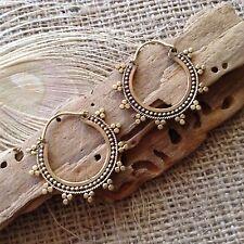 Antique Brass Gypsy Hoop Earrings 34mm Ornate Tribal Nomad Ethnic Boho Stunning