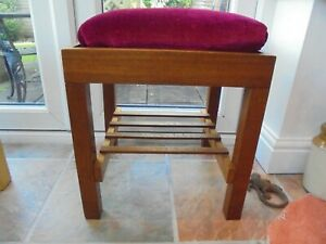 Vintage mcm mid century modern dressing table stool, red velvet seat, teak