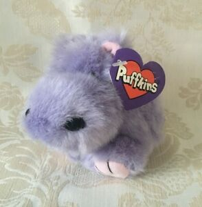 Vintage Henrietta The Hippo Purple Puffkin with Tag Plush Stuffed Animal Swibco