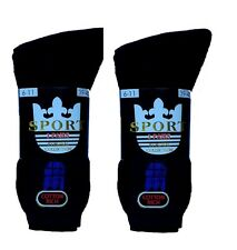 6 Pairs Mens Classic Plain Thick Cotton Rich Sport Socks - Black - Size 6-11