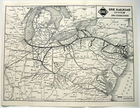 Original 1939 Map of the Erie Railroad by Poole Bros. Vintage