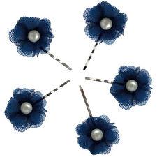 5 épingles pinces plates cheveux mariage soirée fleur bleu nuit perle nacrée