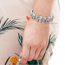Silver Lucky Elephant Africain hindou Ganesha Stretch Animal Bracelet Bangle Cuff