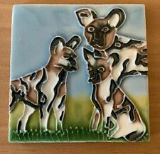 African Wild Dog Ceramic Decorative Wall Art Tile 4x4 New