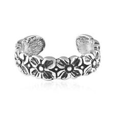 Sterling Silver 925 Adjustable Jewelry Flowers Design Toe Ring Genuine Solid