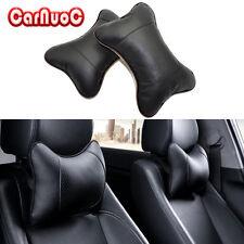 2X PU Leather Black Headrest Pillow Car Seat cover Head Neck Rest Cushion Pillow