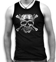 Skull Bones Daggers Pirate Biker Mens Sleeveless Muscle T Tank Top Vest Sm - 2XL