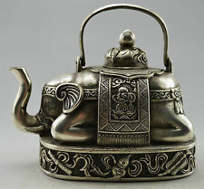 Collectible Decorated Old Handwork Tibet Silver Carved Elephant Tea Pot