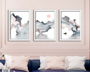 Calming Alcohol inks Watercolor Painting Print   Set of 3 Minimalist Wall Prints