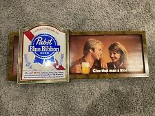 1980's Pabst Blue Ribbon Beer Sign - Give That Man a Blue Ribbon - FREE Shipping