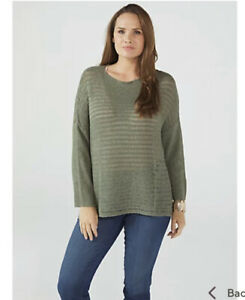 WynneLayers Open Stitch Tape Yarn Unstructured Sweater Basil Medium RRP £62