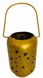 """Hanging Votive Candle Holder Metal Brushed Gold Star Design 11.5""""h x 4""""d"""