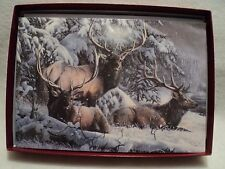 """Leanin Tree """"ELK TRIO IN THE SNOW ~ BOXED CHRISTMAS CARDS ~ Box of 10 Cards"""