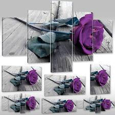 Leinwandbild Canvas Wandbilder Kunstdruck Blumen lila Rose auf Holz Rosenblüte