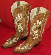 Womens Ferrini Sz 9 Celtic Embroidered Western Boots Broke In Nice Leather
