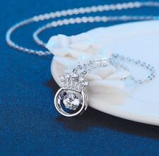 Dancing Sterling Silver Halo Crown Cubic Zirconia Pendant Necklace Gift Box A8