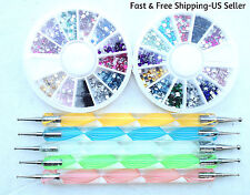 5 Two-Way Nail Art Dotting Pens & 2 Wheels 12-Color Rhinestones Gem Glitter Tips