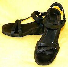 TEVA Ysidro Universal Wedge Black Leather Ankle Strap Sandals  Women's 6.5 /37.5