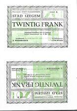 OORLOGSGELD, NOODGELD, IZEGEM, WERELDOORLOG II, 2x 20 frank, niet versneden