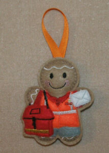 Postman with Sack Gingerbread Felt Embroidered Hanging Decoration Ornament
