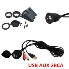1X RCA Audio-in USB Ports to Car's Dashboard Center Console AUX Extension Cable