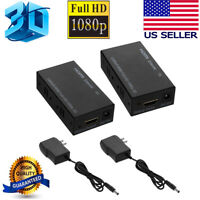 HDMI LAN Extender Repeater Over Single Cat5E/6 RJ45 Up To 200Ft 60M 1080P 3D USA