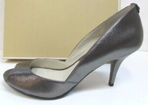 Michael Kors Size 9.5 Leather Metallic Gray Heels New Womens Shoes