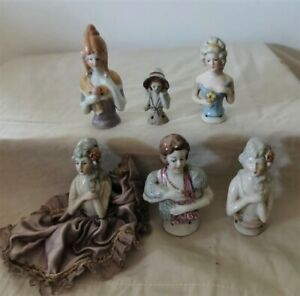 Vintage Porcelain Small Half Doll Pin Cushion Tops Lot of 6 Germany & Japan