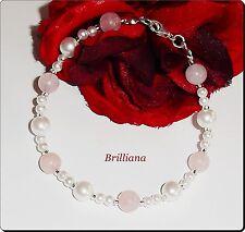 Zauberhaftes Rosenquarz Perlen Armband 21,5cm mit 925 silber Karabiner Organzasä