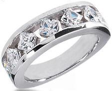 1.91 carat 7 Princess cut DIAMOND WEDDING RING 14k Gold Band 0.27 carat each