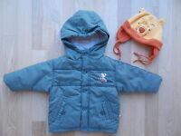 C&A Baby Jacke Übergangsjacke Winter wattiert 68 Grün Olive & Fleece Mütze 1A