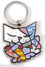 ROMERO BRITTO 'Cat' 2012 Zinc Alloy Key Chain / Ring Giftboxed Heavy Solid *NIB*