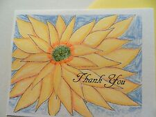Handmade  thank You Card Yellow Starburst Note card  #137