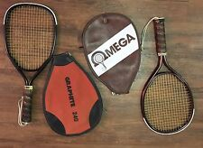 Vintage Omega Pro Ii Pro 2 & Omega Mtd Racquetball Racquets with Covers Retro