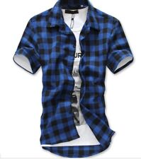 Fashion Mens Summer Casual Dress Shirt Checks & Plaid Short Sleeve T Shirts Tops